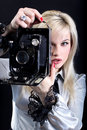 Free Blonde With Camera Royalty Free Stock Photography - 9494727