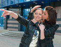 Free Two Happy Young Girls In A City Stock Photography - 9495032