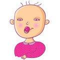 Free Cute Cartoon Newborn Girl Royalty Free Stock Photos - 9497558