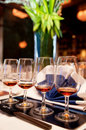 Free Full View Row Of Wine Glasses Royalty Free Stock Photography - 9498157