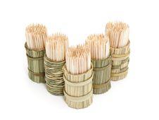 A Round Bamboo Box Of Toothpicks Royalty Free Stock Photo