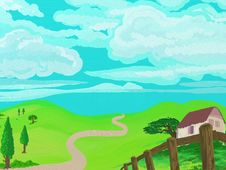 Free Generic Painted Style Countryside Stock Photos - 9491173