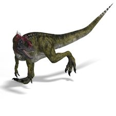 Frightening Dinosaur Cryolophosaurus With Royalty Free Stock Photo
