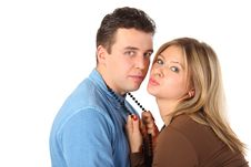 Free Girl Holds Man For Beads Royalty Free Stock Images - 9494239