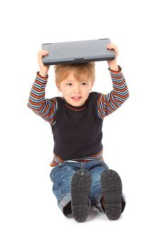 Boy Hold Laptop On Head Stock Images