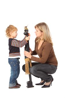Boy And Mother With Wooden Toy Stock Image