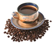 Caffee Cup And Beans Stock Photography