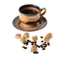 Caffee Cup And Beans Stock Images