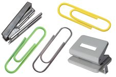 Stapler, Puncher And Paper Clips Stock Images