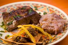 Free Mexican Closeup Steak With Cabbage And Peanuts Stock Image - 9496771