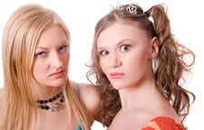 Free Hugging Crazy Girls Isolated Royalty Free Stock Image - 9497256