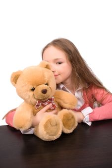 Free Little Girl With Teddy Bear Isolated Stock Image - 9497451