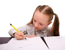 Drawing Little Girl Isolated Stock Photography