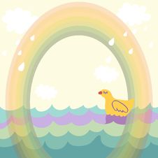 Duck Under The Rainbow Royalty Free Stock Image