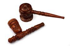 Free Wood Shaman Pipe For Hashish Smoke Royalty Free Stock Photography - 9498707