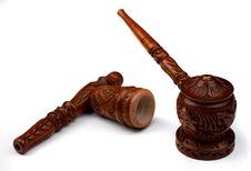 Free Wood Shaman Pipe For Hashish Smoke Stock Photo - 9498710