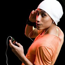 Free Asian Male Listening To Music Stock Photos - 9499303