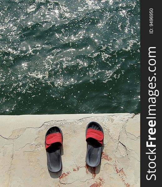 Slip-on shoes and sea