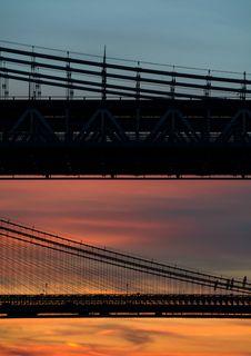 Free Suspension Bridge At Sunset Stock Image - 94945341