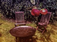 Free Chairs And Table With Red Apples Royalty Free Stock Image - 94945406