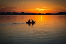 Free 2 Person On Boat Sailing In Clear Water During Sunset Stock Photos - 94945823