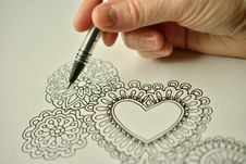 Free Line Art Hearts Stock Photography - 94983832