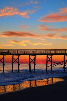 Free Bridge On Stilts At Sunset Royalty Free Stock Images - 94983849