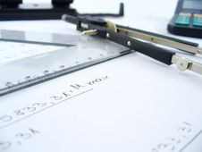 Compasses And Ruler Royalty Free Stock Photography
