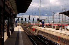 German Train Station Platform Stock Photography