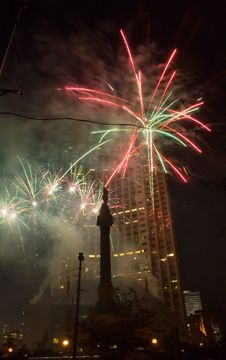 Downtown Fireworks Royalty Free Stock Photos