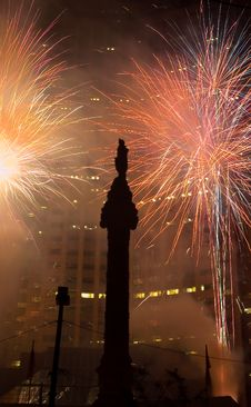 Free Downtown Fireworks Royalty Free Stock Image - 954226