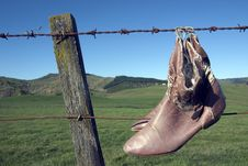 Free Shoes On Fence Stock Image - 954391