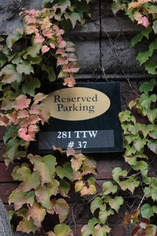 Reserved Parking Sign And Ivy On A Brick Wall Royalty Free Stock Photography
