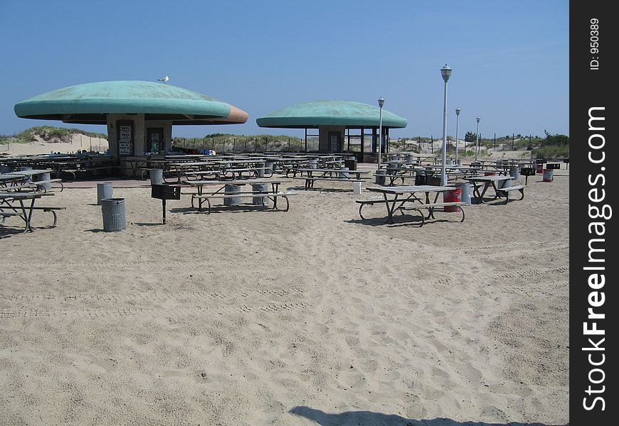 Beach picnic tables
