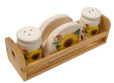 Salt Shaker, Pepper Shaker And Napkin Holder Stock Image