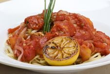 Plate Of Appetizing Linguine Stock Photos