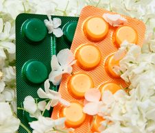 Free Homeopathic Pills And Flowers Stock Image - 9503831