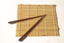 Unrolled Maki Mat With Chopsticks Stock Photography