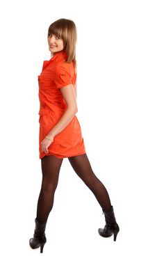 Free Glamor Girl In A Orange Dress Isolated Royalty Free Stock Photography - 9504917