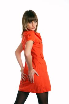 Free Glamor Girl In A Orange Dress Isolated Stock Images - 9504924