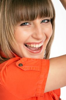 Free Close Up Of Glamor Girl In A Orange Dress Isolated Stock Images - 9504934