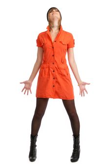 Free Glamor Girl In A Orange Dress Isolated Royalty Free Stock Photos - 9504948