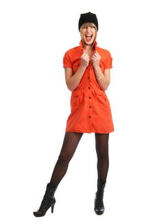 Free Glamor Girl In A Orange Dress Isolated Stock Photo - 9504950