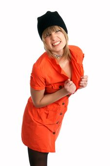 Free Glamor Girl In A Orange Dress Isolated Stock Image - 9504951