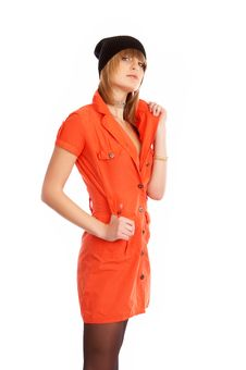 Free Glamor Girl In A Orange Dress Isolated Royalty Free Stock Photography - 9504957