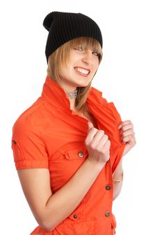 Free Glamor Girl In A Orange Dress Isolated Stock Photo - 9504960