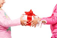 Free Little Girls Holding Gift Boxes Stock Image - 9505171