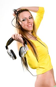Attractive Young Woman With Headphones Over White Royalty Free Stock Images