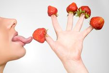 Free Strawberries Picked On Fingertips Stock Image - 9505261