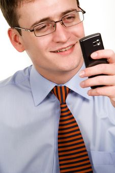 Free Businessman Looking At Cellphone Stock Image - 9505271